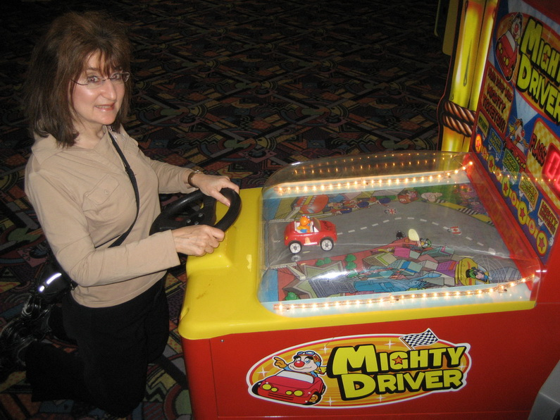Sandra Playing a Driving Game