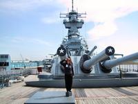 Sandra at attention on the Battleship