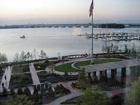 View of grounds and across the Potomac from Gaylord Hotel