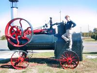 Standing on old farm equipment, Old Town Petersburg