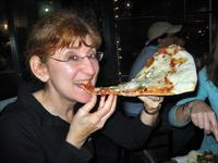 Enjoying Vinnie Van Go Go\'s Pizza