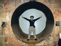 Sandra in a water pipe at Roanoke Canal Museum