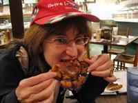 Sandra chowing down at Fuller's BBQ, Lumberton