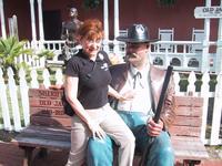 Sandra on the Sherrif\'s lap, St Augustine Trolley station