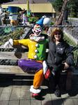Sandra with a clown golfer, Lake George