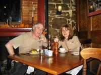 Sandra and Stan eating at the Olde Bryan Inn, Saratoga Springs