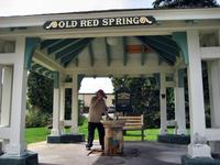 Drinking Old Red Spring water, Saratoga Springs