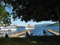 A tour boat on Lake George
